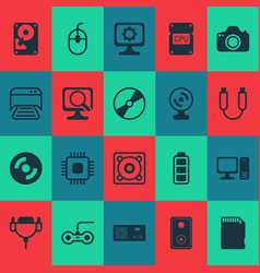 computer icons set with sd card photocamera vector image