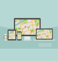 Concept of responsive navigation application for vector