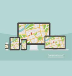 concept responsive navigation application vector image