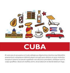 cuba travel poster with information on cuban vector image