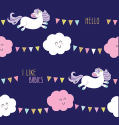 Cute unicorn seamless pattern background with vector