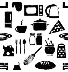 doodle kitchen seamless pattern vector image