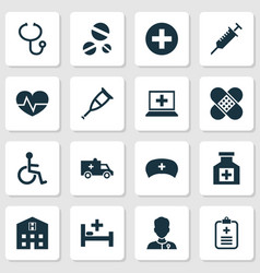 Drug icons set collection of cure healer cap vector