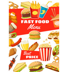 Fast food menu of street meals and drinks vector