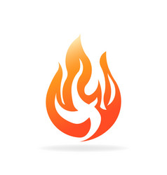 fire burning flame logo design vector image