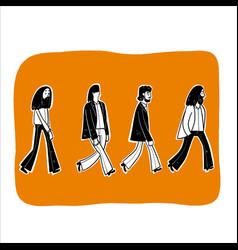 Four men walking in line vector