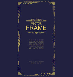 Frame art deco line style vector