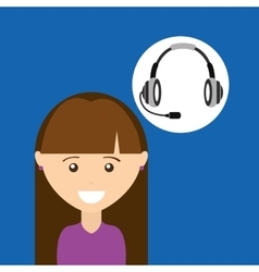 girl purple shirt headphones for support vector image