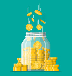 glass money jar full gold coins vector image