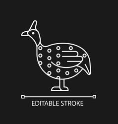 Guinea fowl linear icon for dark theme vector