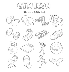 Gym icons set in outline style vector image