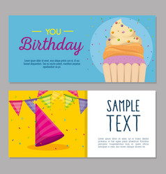 happy birthday card with cupcake and hat party vector image