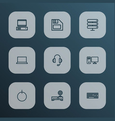 hardware icons line style set with keyboard vector image