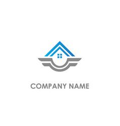 Home realty emblem wing logo vector