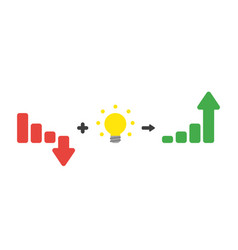 icon concept of sales bar graph moving down plus vector image