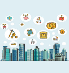 in flat style with crypto vector image