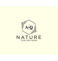 Initial aq letters botanical feminine logo vector