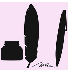 Inkwell and feather and pen vector