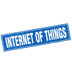 Internet of things square stamp vector