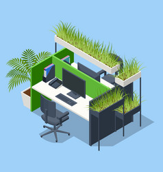 isometric green wall in office contemporary eco vector image