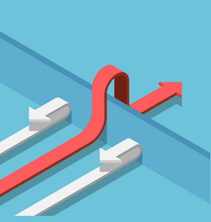 Isometric red arrow find a way to cross wall vector