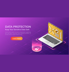 isometric web banner laptop with security vault vector image