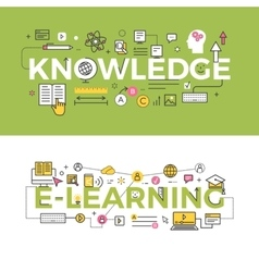 Knowledge and E-Learning Concept Banners vector image