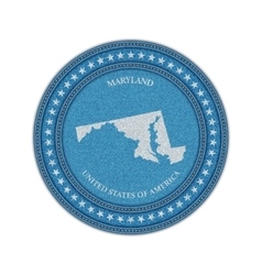 Label with map of maryland Denim style vector
