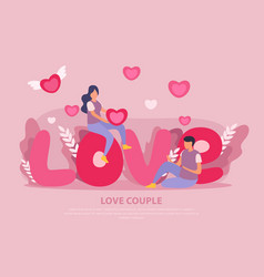 love couple flat background vector image