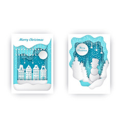 merry christmas nature and town holiday vector image