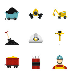 Mining icons set flat style vector