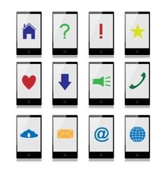 Mobile phones with signs on the screen vector image