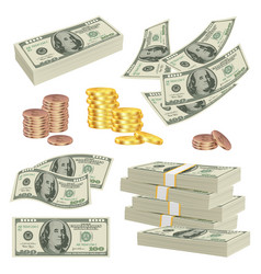 Money realistic investment cash dollars banknotes vector