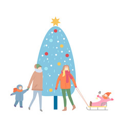 mums and children near decoration fir-tree vector image