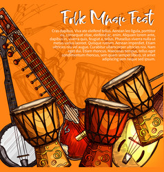 musical festival of folk music sketch poster vector image