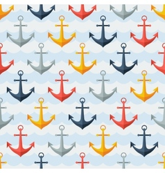 Nautical seamless pattern with anchors in flat vector image