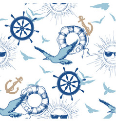navy seamless pattern marine design elements vector image