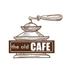 Old cafe coffee pot monochrome sketch outline logo vector