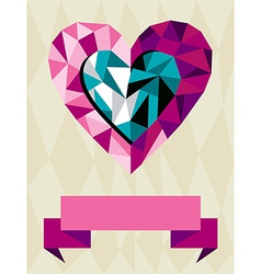 Origami Heart Love vector image