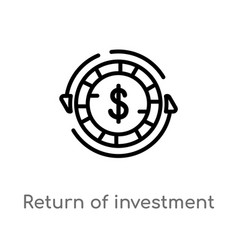 Outline return investment icon isolated black vector