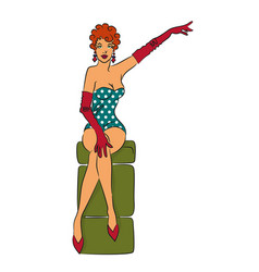 Pin-up girl vector