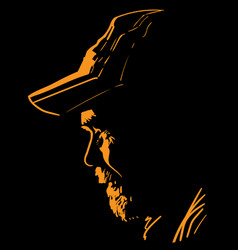 portrait in contrast backlight man with cap vector image
