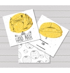 Printable card in the style of Hand-drawn Sewing vector image