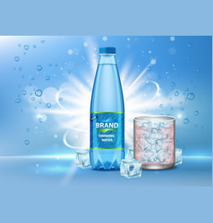 Pure drinking water ad realistic vector