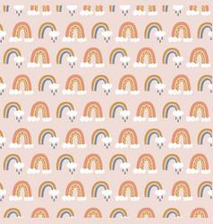 Rainbows boho hand drawn doodles seamless pattern vector