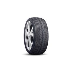 realistic car wheel with black tire and grey steel vector image