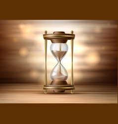 Realistic hourglass sandglass 3d on brown vector
