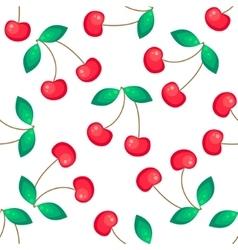 Red cherries fruit seamless pattern vector image