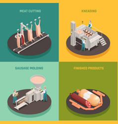 Sausage factory isometric design concept vector