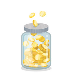 saving flat money jar vector image